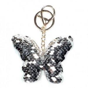 Breloczek motyl cekinowy srebrny