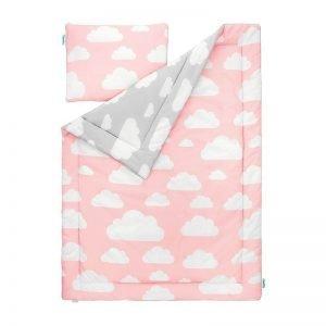 Lamps & co pościel dziecięca 100 x 135 chmurki pink & grey