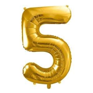"""Balon foliowy metalizowany cyfra """"5"""", 86 cm, złoty"""
