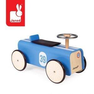 Drewniany jeździk retro bolid wyścigowy, janod