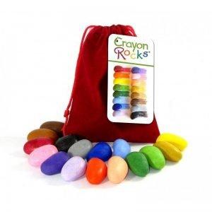 Kredki z wosku soi crayon rock w aksamitnym woreczku – 16 kolorów