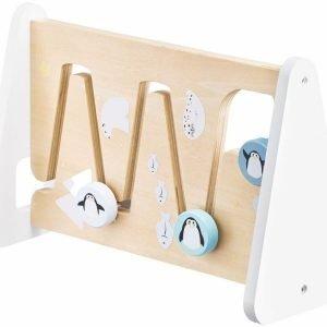 Drewniana dwustronna tablica manipulacyjna sensoryczna