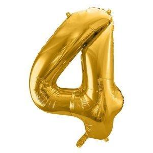 """Balon foliowy metalizowany cyfra """"4"""", 86 cm, złoty"""
