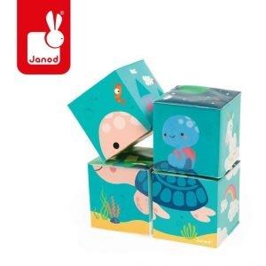 Klocki do kąpieli puzzle 6w1 zwierzątka 4 elementy 10 m+, janod