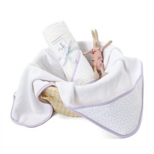 Colorstories – ręcznik bawełniany z kapturem 90×90 cm lavender dots (m)