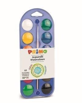 Farby wodne w pastylkach 12 kolorów + pędzelek.