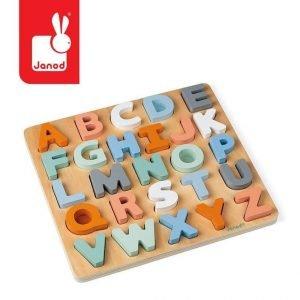 Drewniane puzzle alfabet 3d z tablicą sweet cocoon, 2+, janod