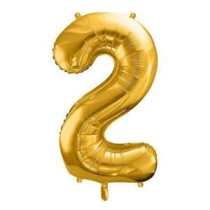 """Balon foliowy metalizowany cyfra """"2"""", 86 cm, złoty"""