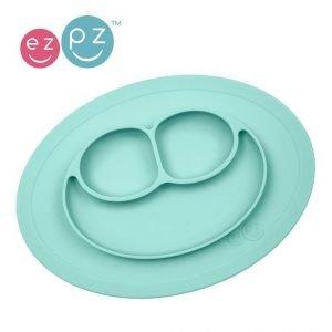 Ezpz silikonowy talerzyk z podkładką mały 2w1 mini mat pastelowy niebieski