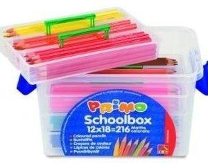 Plastikowe pudełko szkolne z kredkami 216 szt. 12 kolorów po 18 szt.