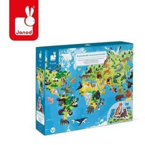 Puzzle edukacyjne z figurkami 3d zagrożone gatunki 200 elementów 6+, janod