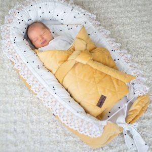 Kokon / gniazdko niemowlęce triangles mustard
