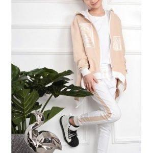 Białe spodnie z lampasem