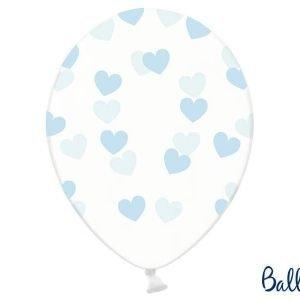 Balony 30 cm, serduszka, crystal clear 1 op./6 szt.