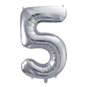 """Balon foliowy metalizowany cyfra """"5"""", 86 cm, srebrny"""