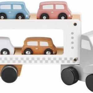 Drewniana ciężarówka –  naczepa z 4 samochodami