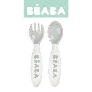 Beaba sztućce plastikowe w etui grey