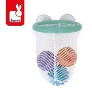 Gra w koszykówkę do kąpieli kosz z przyssawkami + 3 piłki 12 m+, janod