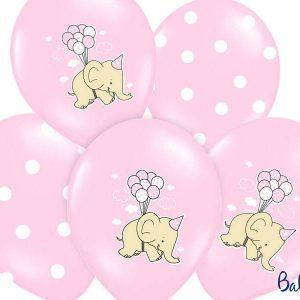 Balony 30 cm, słonik, pastel pink mix 1 op/6 szt.
