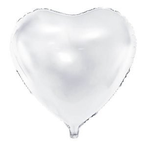 Balon foliowy serce, 61 cm, biały
