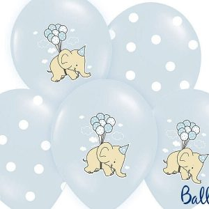 Balony 30 cm, słonik, pastel baby blue mix, 1 op/6 szt.