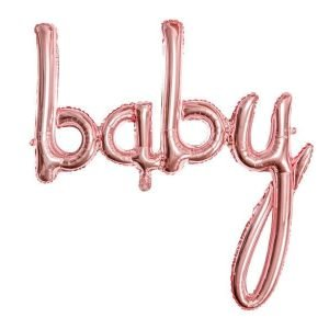 Balon foliowy baby,różowe złoto, 73,5×75,5