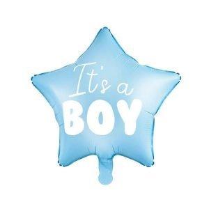 Balon foliowy gwiazdka – it's a boy, 48 cm, jasny niebieski
