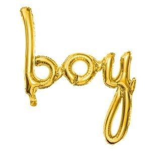 Balon foliowy boy, złoty, 63,5×74 cm