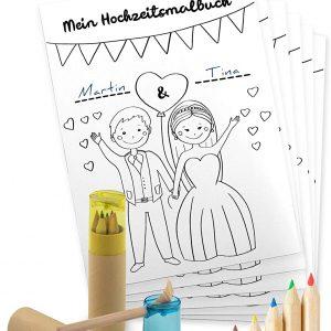 Kolorowanka weselna i kredki ze temperówką do zajęcia dzieci na weselu